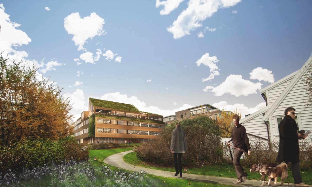 Fotoillustrasjon som viser hvordan bygget vil bli.