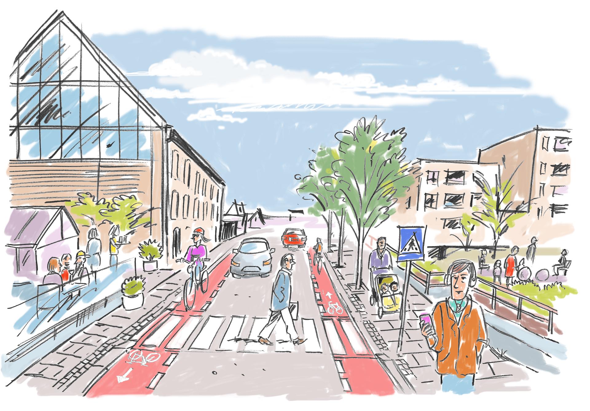 Slik blir Ryfylkegata på Storhaug i Stavanger. Illustrasjon: Egil Bjørøen, Stavanger kommune.