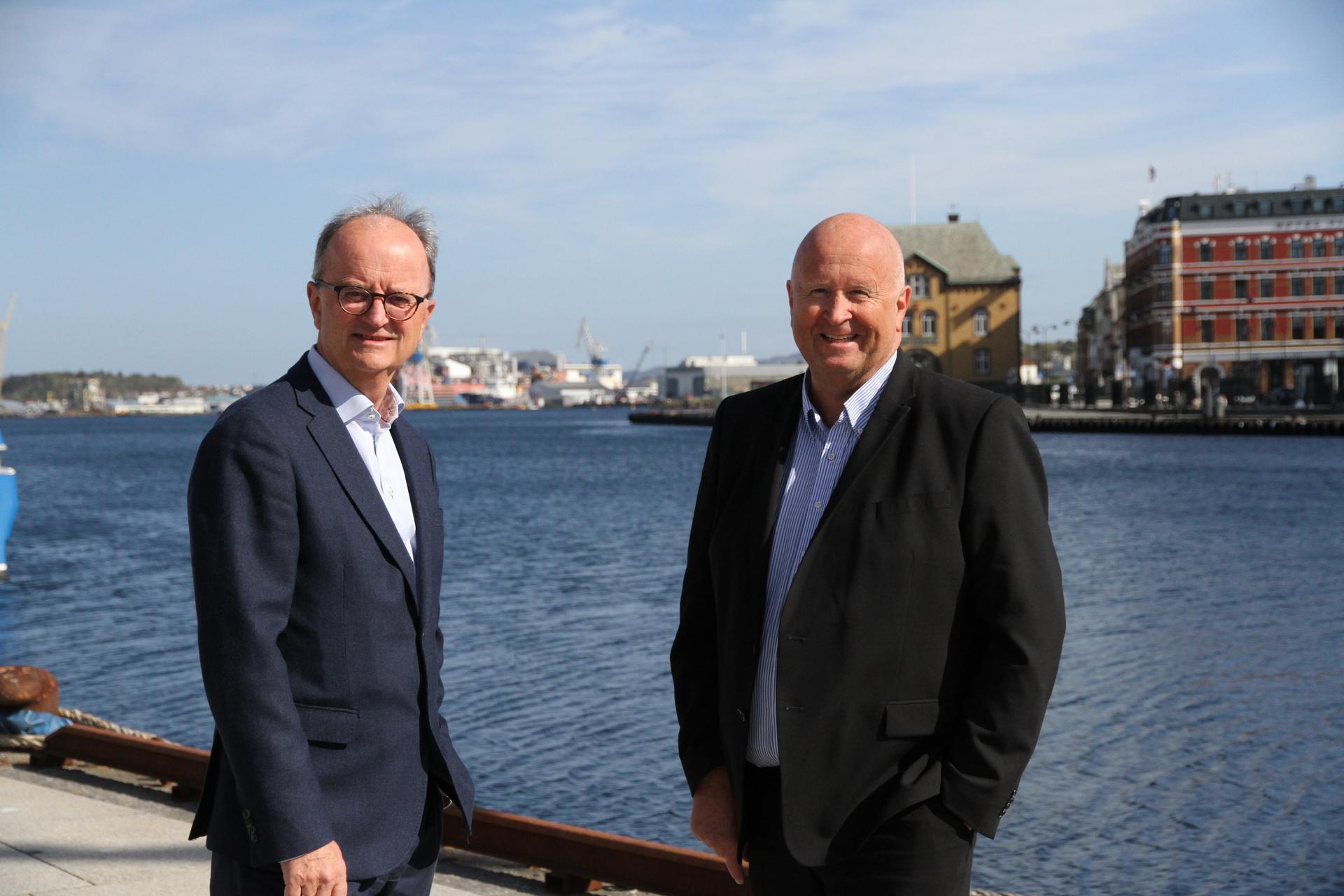 Eimund Nygaard og Olav Linga, to konsernsjefer i henholdsvis Lyse og Haugaland Kraft som vil bidra med fakta inn i arbeidet med å få ned klimagassutslippene.