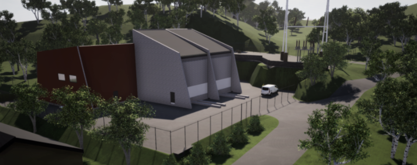Illustrasjon av nye Hjelmeland transformatorstasjon med plass til to transformatorer i framtiden.