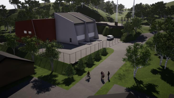 Illustrasjon av nye Hjelmeland transformatorstasjon med plass til to transformatorer i framtiden